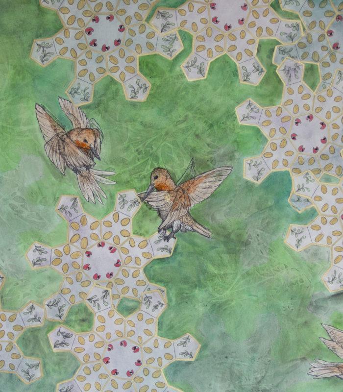 Hummingbirds with Caffeine molecule Flowers